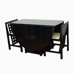 Tavolo da pranzo e sedie di Charles Rennie Mackintosh per Cassina, anni '80, set di 3