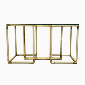 Vintage Brass, Plastic, and Glass Console Table by Tommaso Barbi, 1970s