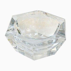 Sechseckiger Mid-Century Aschenbecher aus Kristallglas von Val Saint Lambert