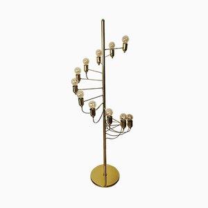 Goldene italienische Stehlampe von Gino Sarfatti, 1970er