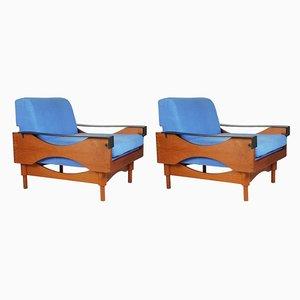 Sessel mit Gestell aus Teak & schwarzen Armlehnen aus Leder von Sergio Saporiti für Fratelli Saporiti, 1960er, 2er Set