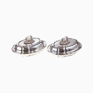 Antique Silver-Plated Serving Dishes, Set of 2