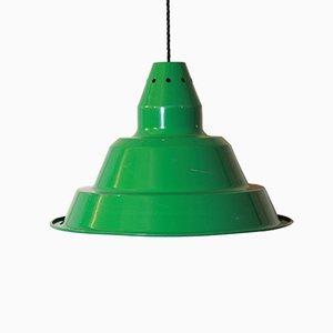 Lámpara de techo industrial vintage de hierro verde, años 70