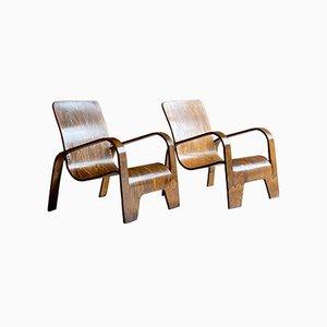 Lawo Armlehnstühle aus Birkenholz von Han Pieck, 1940er, 2er Set