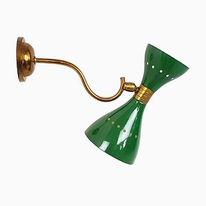 Italian Green Metal and Brass Sconce, 1950s