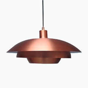 Danish Coppered Aluminum Pendant Lamp, 1950s