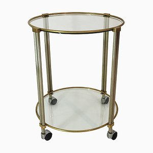 Vintage Clear Glass, Aluminum, and Brass Trolley