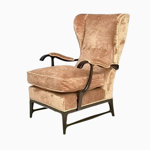 Mid-Century Beige Velvet Wingback Armchair by Paolo Buffa for Framar, 1950s