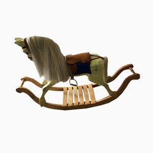 Cavallino a dondolo vintage in legno di Brian Stebbings, anni '90