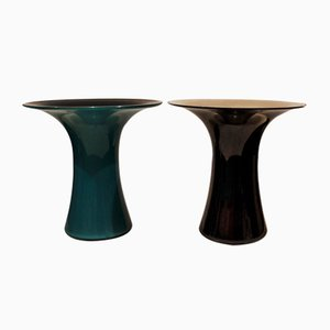 Murano Glass Vases by Angelo Mangiarotti for Vistosi, 1970s, Set of 2