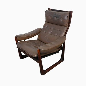 Danish Rosewood and Leather Lounge Chair, 1960s
