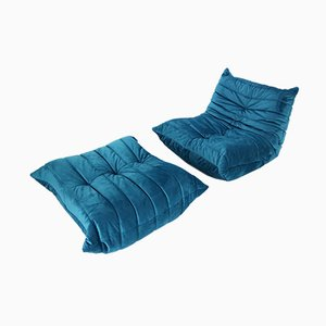 Blue Velvet Togo Lounge Chair and Ottoman by Michel Ducaroy for Ligne Roset, 1970s