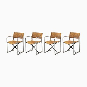 Leather Folding Chairs by Börge Lindau & Bo Lindekrantz for Lammhults, 1960s, Set of 4
