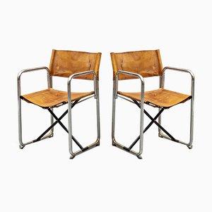 Klappstühle mit Lederbespannung von Börge Lindau & Bo Lindekrantz für Lammhults, 1960er, 2er Set