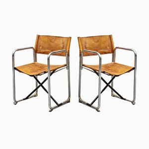 Leather Folding Chairs by Börge Lindau & Bo Lindekrantz for Lammhults, 1960s, 2 Sets of 2