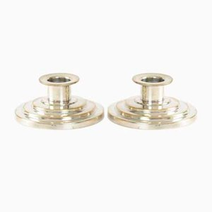 Vintage Art Deco Silver-Plated Candle Holders from Holger Fridericias, Set of 2