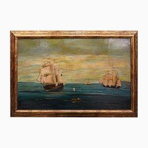 Óleo sobre lienzo francés antiguo, década de 1700