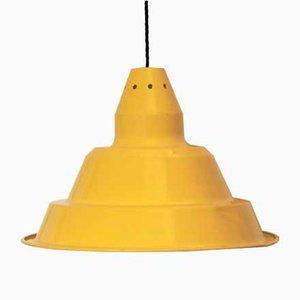Lampada da soffitto vintage industriale in ferro giallo, anni '70