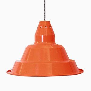 Orangefarbene industrielle Vintage Deckenlampe aus Eisen, 1970er
