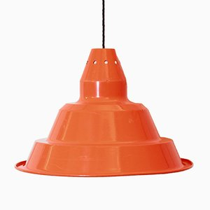 Vintage Industrial Orange Iron Ceiling Lamp, 1970s