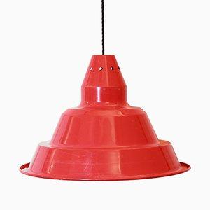 Lampada da soffitto vintage industriale in ferro rosso, anni '70