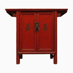 Rot lackierter chinesischer Vintage Schrank, 1920er