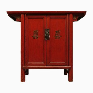 Vintage Chinese Red Lacquered Cabinet, 1920s