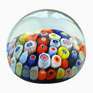 Vintage Scottish Glass Millefiori Paperweight from Strathearn, 1950s