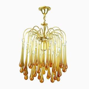 Lámpara de araña en cascada de cristal de Murano, años 60