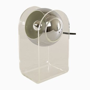 Italian Perspex and Chrome Sphere Table Lamp, 1970s