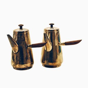 Danish Teak and Silver-Plated Coffee Pots from ASR, 1960s, Set of 2
