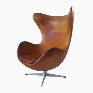 Silla Egg danesa Mid-Century de cuero coñac de Arne Jacobsen para Fritz Hansen