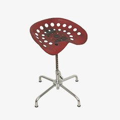 Vintage Industrial Red Stool