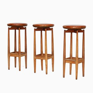 Mid-Century Danish Oak and Leather Bar Stools, Set of 3