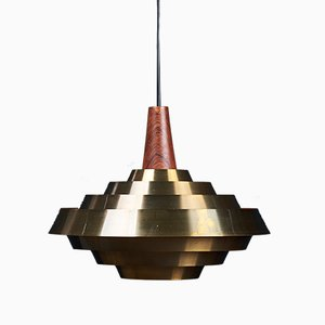 Danish Brass with Rosewood Pendant Lamp, 1960s