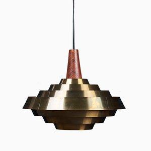 Lampe à Suspension en Laiton et Palissandre, Danemark, 1960s
