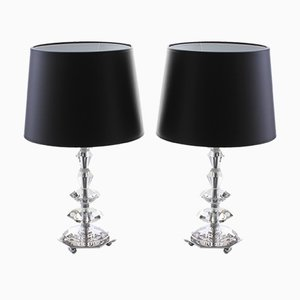 Lampade da tavolo in vetro e metallo cromato, anni '60, set di 2