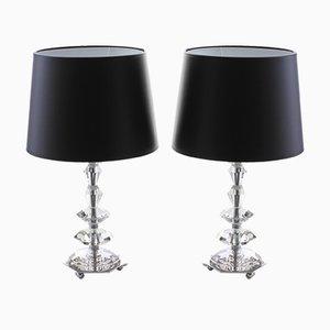 Lampes de Bureau en Verre et Chrome, 1960s, Set de 2