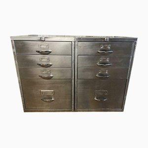 Vintage Industrial Stripped Metal Filing Cabinets, 1980s, Set of 2