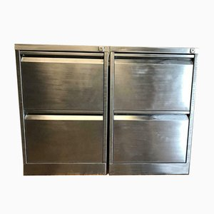 Industrial Stripped Metal Cabinets, 1980s, Set of 2