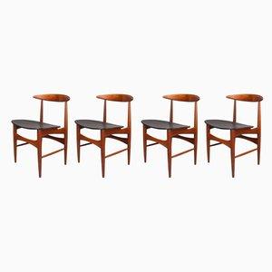 Danish Teak Dining Chairs by Arne Hovmand-Olsen for Mogens Kold, 1960s, Set of 4
