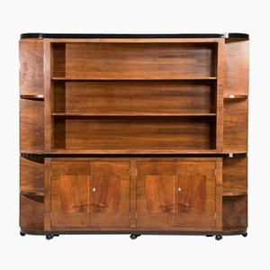 Italian Art Deco Walnut Bookcase, 1940s