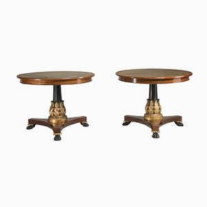 Antique Mahogany Lacquered Side Tables, Set of 2