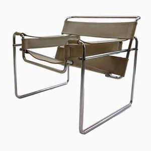 Italienischer Modell B3 Wassily Sessel mit Leinenbespannung von Marcel Breuer für Gavina, 1960er