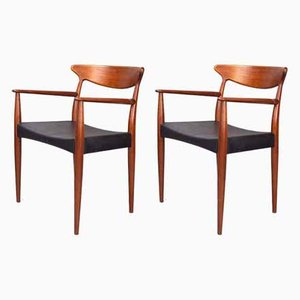 Danish Teak Carver Dining Chairs by Arne Hovmand-Olsen for Mogens Kold, 1960s, Set of 2