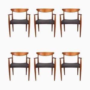Sedie da pranzo in teak di Arne Hovmand-Olsen per Mogens Kold, Danimarca, anni '60, set di 6