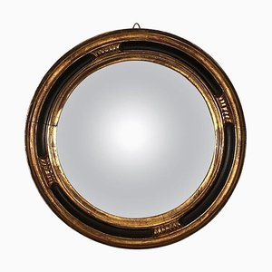 French Gold and Black Lacquered Mirror, 1950s