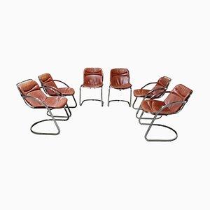 Sedie da pranzo vintage in pelle di Gastone Rinaldi per Rima, set di 6
