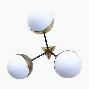 Brass and Opal Glass Sconce from Stilnovo, 1950s