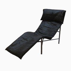 Chaise longue in pelle nera di Tjord Bjorklund per Ikea, Svezia, anni '70